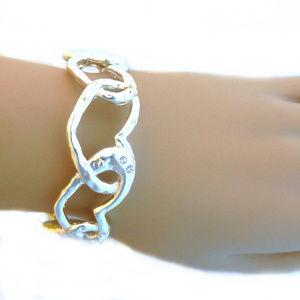 Jewelry - Stretch Bracelet - Linked Hearts Rhinestone Silver